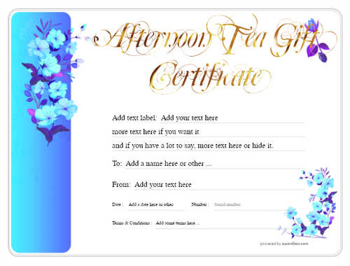 afternoon tea  gift certificate style8 blue template image-99 downloadable and printable with editable fields