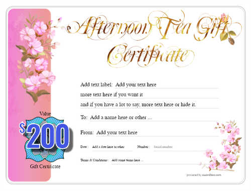 afternoon tea  gift certificate style8 pink template image-97 downloadable and printable with editable fields