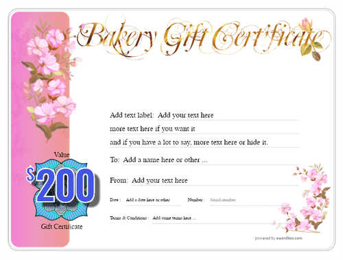 bakery gift certificate style8 pink template image-175 downloadable and printable with editable fields