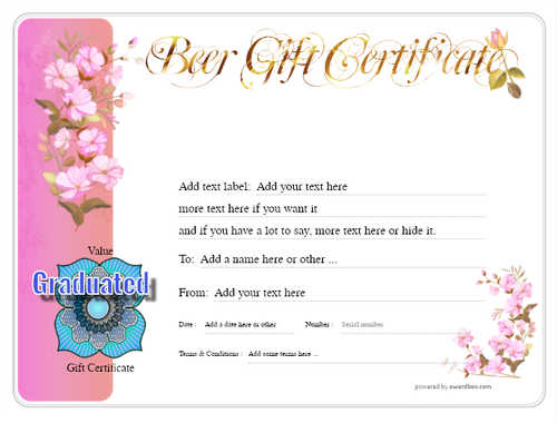 beer    gift certificate style8 pink template image-201 downloadable and printable with editable fields