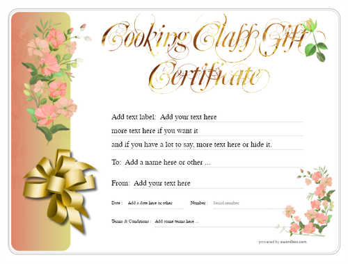 cooking class gift certificate style8 red template image-226 downloadable and printable with editable fields