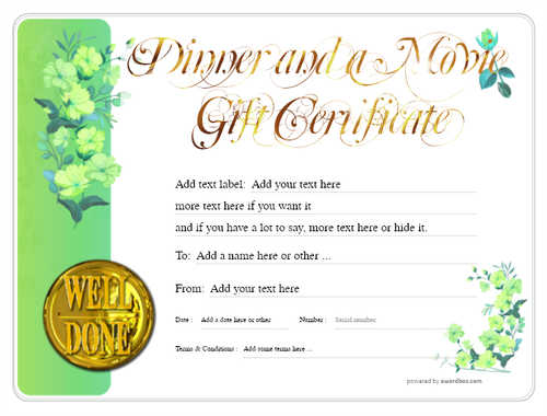dinner and a movie gift certificate style8 green template image-150 downloadable and printable with editable fields