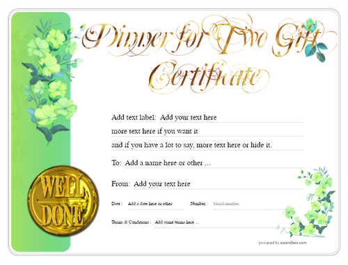 dinner for two gift certificate style8 green template image-124 downloadable and printable with editable fields
