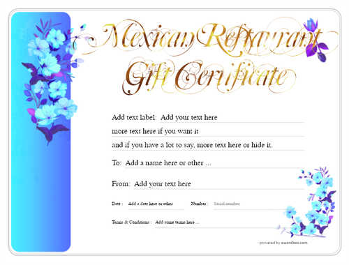 mexican restaurant gift certificates style8 blue template image-46 downloadable and printable with editable fields