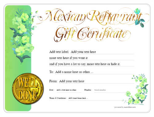 mexican restaurant gift certificates style8 green template image-45 downloadable and printable with editable fields