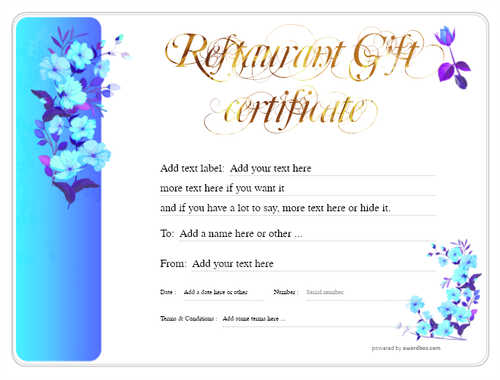restaurant  gift certificate style8 blue template image-20 downloadable and printable with editable fields
