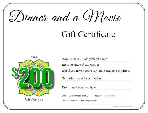dinner and a movie gift certificate style1 default template image-134 downloadable and printable with editable fields