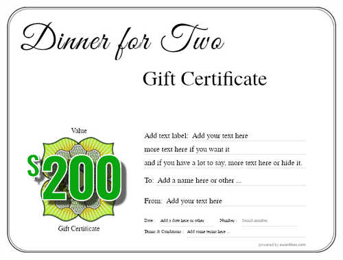 dinner for two gift certificate style1 default template image-108 downloadable and printable with editable fields