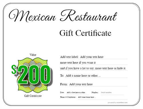 mexican restaurant gift certificates style1 default template image-29 downloadable and printable with editable fields
