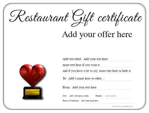 restaurant  gift certificate style1 default template image-1 downloadable and printable with editable fields