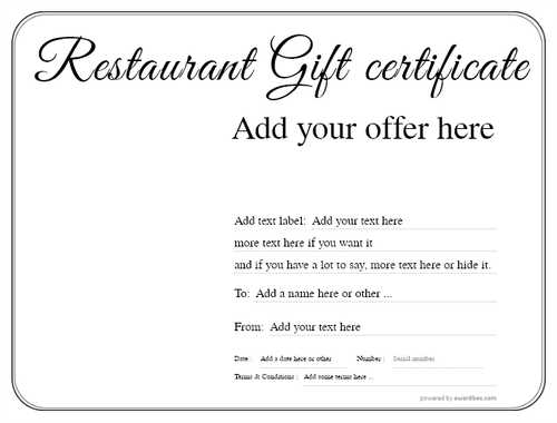 restaurant  gift certificate style1 default template image-2 downloadable and printable with editable fields