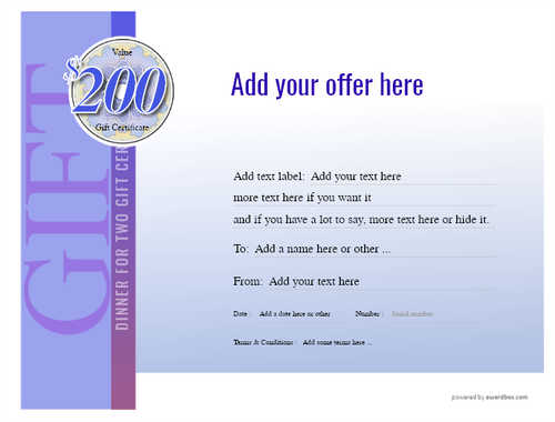 dinner for two gift certificate style3 blue template image-111 downloadable and printable with editable fields