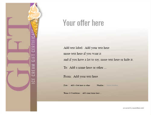 ice cream   gift certificate style3 brown template image-240 downloadable and printable with editable fields