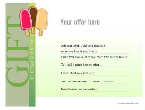ice cream   gift certificate style3 green template image-239 downloadable and printable with editable fields