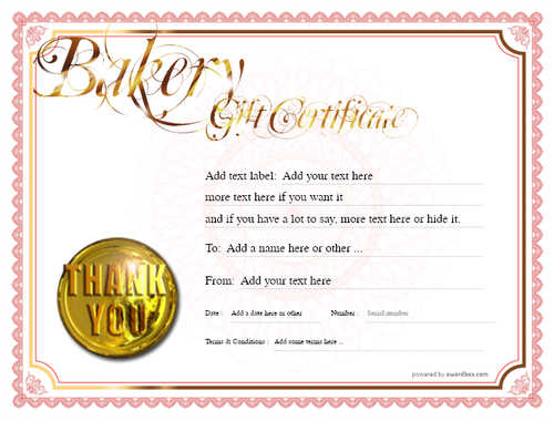 bakery gift certificate style4 red template image-164 downloadable and printable with editable fields