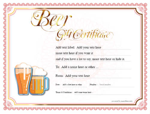 beer    gift certificate style4 red template image-190 downloadable and printable with editable fields