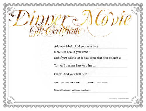 dinner and a movie gift certificate style4 default template image-139 downloadable and printable with editable fields