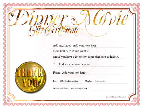 dinner and a movie gift certificate style4 red template image-138 downloadable and printable with editable fields