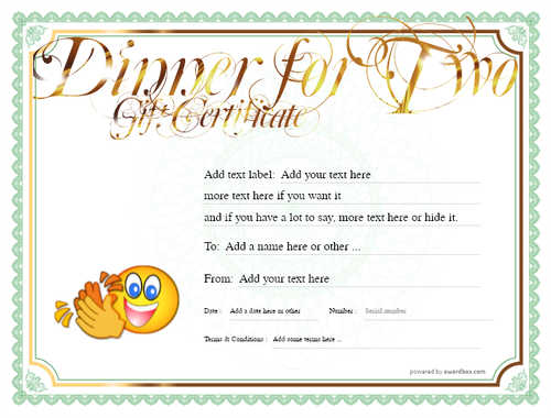dinner for two gift certificate style4 green template image-114 downloadable and printable with editable fields