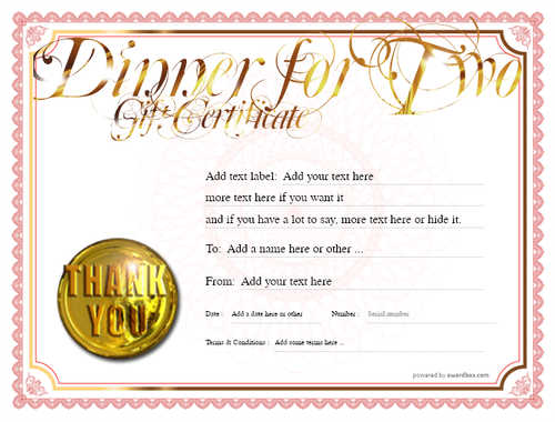 dinner for two gift certificate style4 red template image-112 downloadable and printable with editable fields
