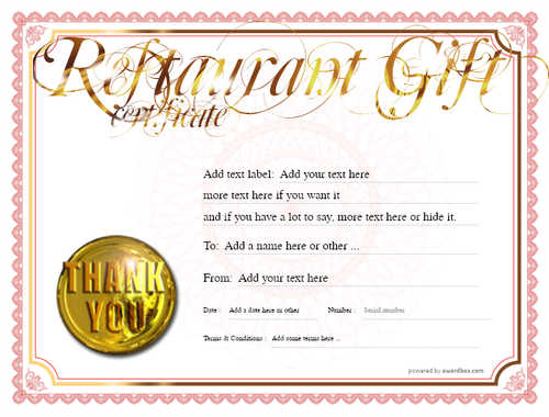 restaurant  gift certificate style4 red template image-7 downloadable and printable with editable fields