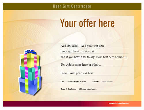 beer    gift certificate style6 yellow template image-193 downloadable and printable with editable fields