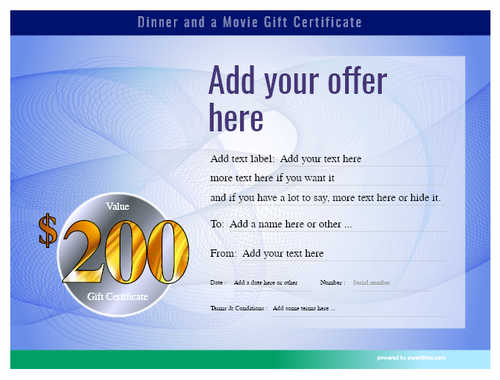 dinner and a movie gift certificate style6 blue template image-142 downloadable and printable with editable fields