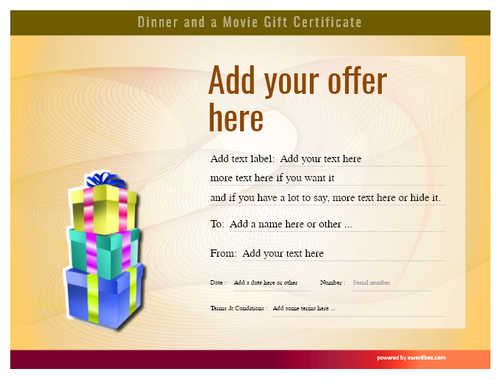 dinner and a movie gift certificate style6 yellow template image-141 downloadable and printable with editable fields