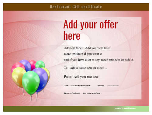 restaurant  gift certificate style6 red template image-12 downloadable and printable with editable fields