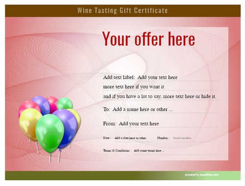wine tasting gift certificate style6 red template image-273 downloadable and printable with editable fields