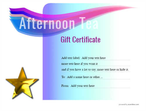 afternoon tea  gift certificate style7 blue template image-95 downloadable and printable with editable fields