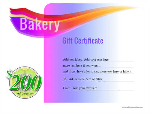 bakery gift certificate style7 purple template image-171 downloadable and printable with editable fields