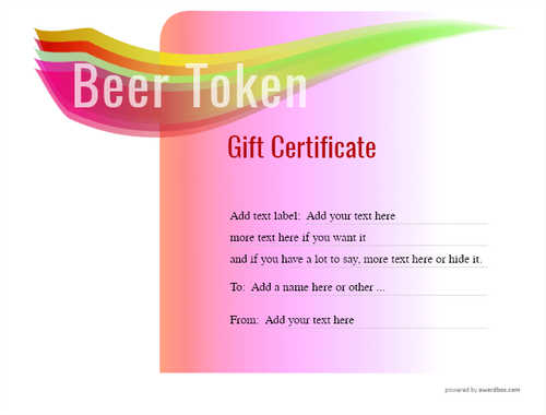 beer    gift certificate style7 pink template image-198 downloadable and printable with editable fields