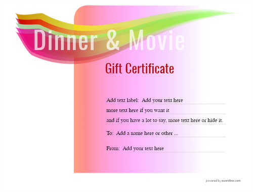 dinner and a movie gift certificate style7 pink template image-146 downloadable and printable with editable fields