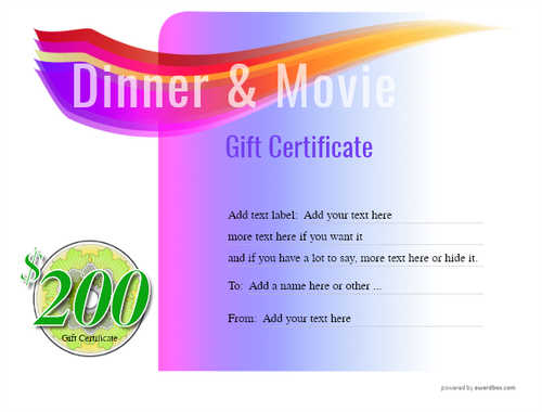 dinner and a movie gift certificate style7 purple template image-145 downloadable and printable with editable fields