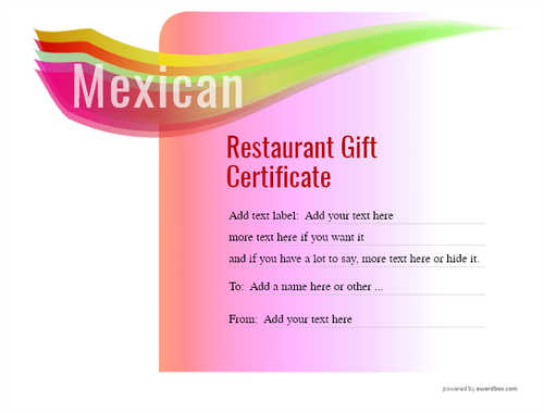 mexican restaurant gift certificates style7 pink template image-41 downloadable and printable with editable fields