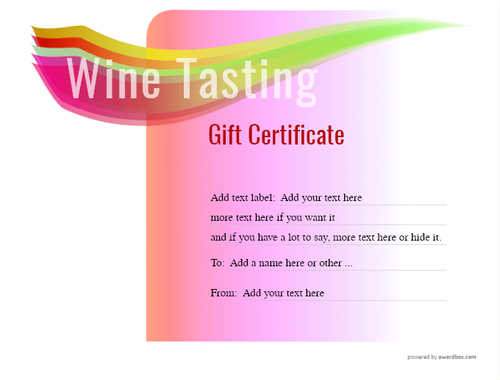 wine tasting gift certificate style7 pink template image-276 downloadable and printable with editable fields