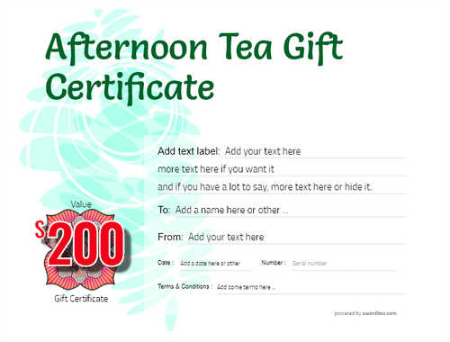 afternoon tea  gift certificate style9 green template image-103 downloadable and printable with editable fields