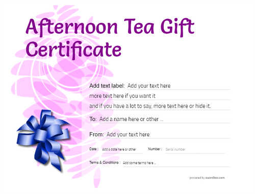 afternoon tea  gift certificate style9 purple template image-100 downloadable and printable with editable fields