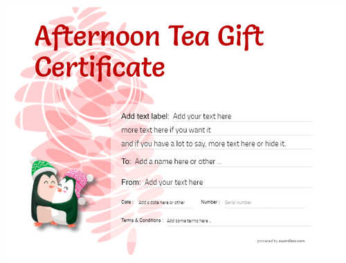afternoon tea  gift certificate style9 red template image-101 downloadable and printable with editable fields