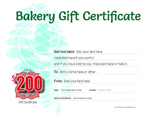 bakery gift certificate style9 green template image-181 downloadable and printable with editable fields