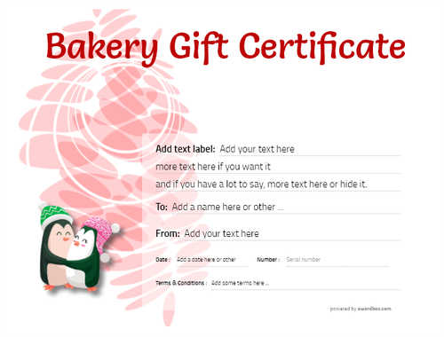 bakery gift certificate style9 red template image-179 downloadable and printable with editable fields