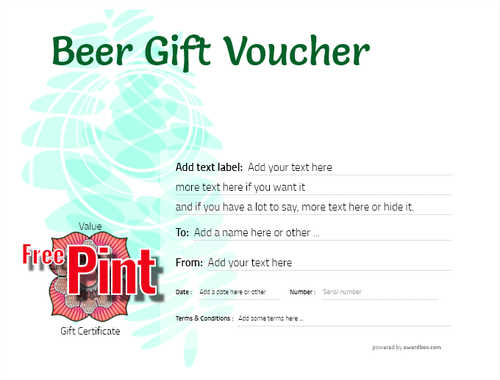 beer    gift certificate style9 green template image-207 downloadable and printable with editable fields
