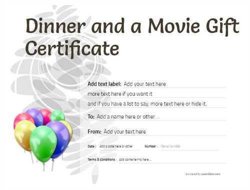 dinner and a movie gift certificate style9 default template image-154 downloadable and printable with editable fields