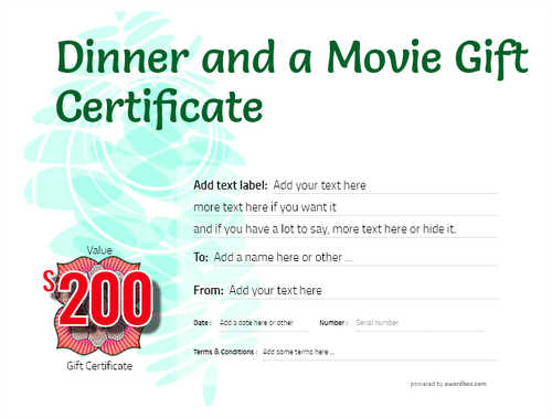 dinner and a movie gift certificate style9 green template image-155 downloadable and printable with editable fields