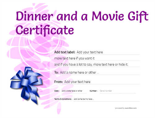 dinner and a movie gift certificate style9 purple template image-152 downloadable and printable with editable fields