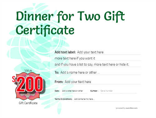 dinner for two gift certificate style9 green template image-129 downloadable and printable with editable fields