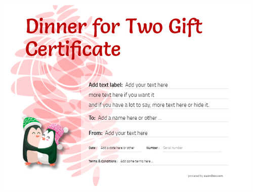 dinner for two gift certificate style9 red template image-127 downloadable and printable with editable fields