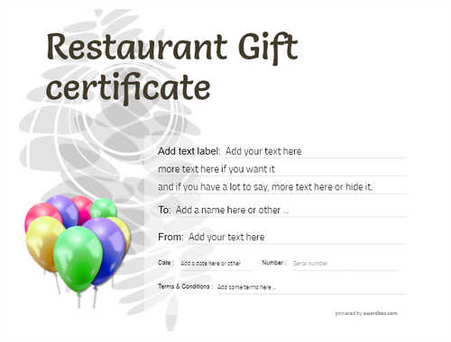 restaurant  gift certificate style9 default template image-23 downloadable and printable with editable fields