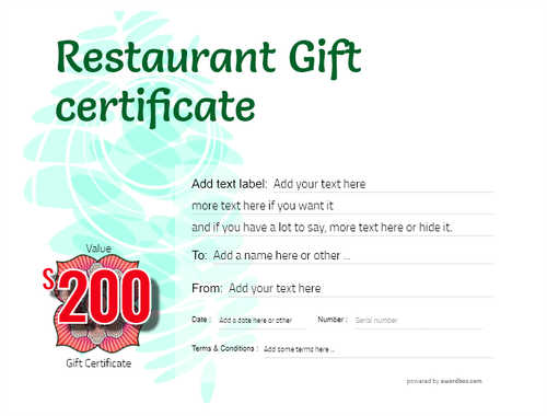 restaurant  gift certificate style9 green template image-24 downloadable and printable with editable fields